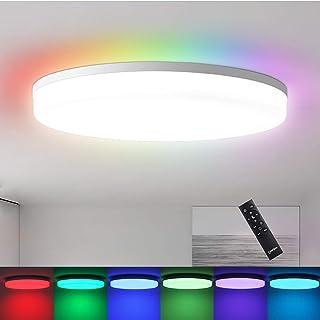 چراغ سقفی هوشمند با ریموت ، چراغ سقفی قابل تنظیم 24W 2400LM ، چراغ سقفی RGB Led Flush Mount ، چراغ سقفی مدرن با عملکرد حافظه برای آشپزخانه حمام اتاق خواب