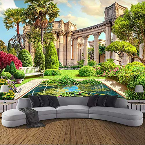 Zhcm Tapete 3D Tapete 3D Tapete Römische Säule Gartenansicht Wohnzimmer Sofa Schlafzimmer Hintergrund 3D, 200 * 140