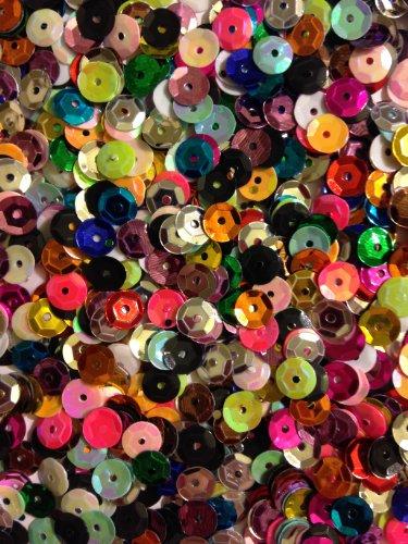 1400 Pailletten - Ø 6mm - Riesige Auswahl an Farben (Bunt)