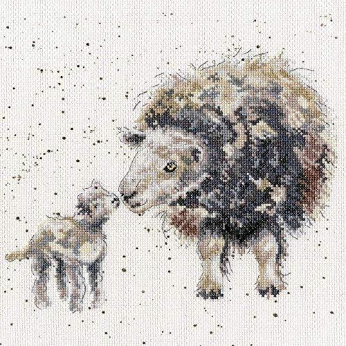 Kit de punto de cruz para principiantes, adultos, amor de madre oveja, bordado artesanal de bricolaje, costura, punto de aguja, agujas de hilo de algodón, regalo para decoración del hogar (lienzo