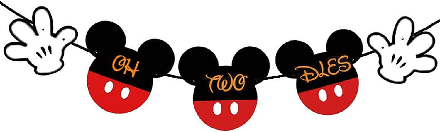 Mickey Oh Twodles Banner, Classic Mouse 2nd Birthday Party Decor