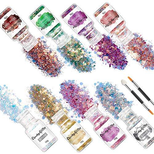 AODIGEGE Chunky Glitter 8 Stück Face Glitter Glitzer für Nagel, Sequin Glitzerpuder, Haare Glitzer, Make-up Glitzer, DIY-Design, für Festival Dekoration Musik Festival