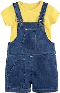 Niños Conjunto de Trajes 2 Piezas Bebé T-Shirt y Pantalones de Peto Camiseta Algodón Tops