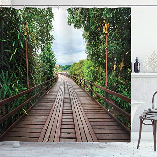 Ambesonne Apartment Decor Shower Curtain Set, Wooden Bridge Between Tropical Trees Exotic Jungle Freshening Relax Road Nature Image, Bathroom Accessories, 75 inches Long, Brown Green