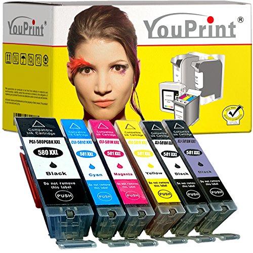 6 YouPrint® Druckerpatronen ersetzen Canon PGI-580/CLI-581 XXL mit Chip und mit PB - kompatibel für Canon Pixma TS8150, TS8151, TS8152, TS9150, TS9155, TS8250, TS8251, TS8252