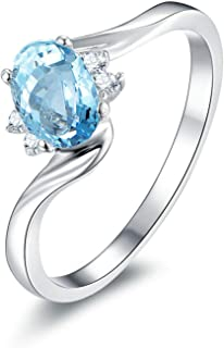 Epinki Wedding Engagement Ring Anniversary Propose Eternity Bridal Ring S925 Ring Oval Ring Wedding Women Rings Silver with Blue Topaz