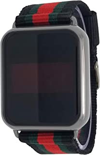 Techno Pave 14K Black Gold Plated Touch Screen Luxury Designer Style Nylon Band Wrist Watch