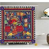RTYRT 3D Duschvorhang 180x200cm Mexikanischer Duschvorhang Aztekische Kultur Muster Ethnische Bunte Mythologie Kunstwerk Alte Schlange Stoff Badezimmer Dekor