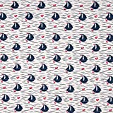 Jersey, Baumwolljersey, Meterware ab 25cm - mit Schiffen,
