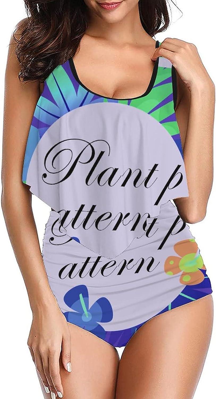 Women's Plant Pattern-3 Swimsuit Original Tankinis top with High Waist Bottom Bikini Set Two Pieces Swimdress