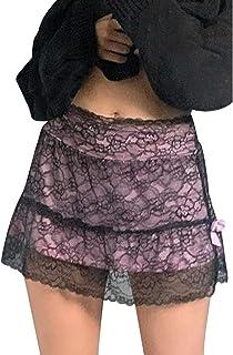 Timagebreze Gonna Gotica nel Pizzo Patchwork Donna Stile Punk Dark Academia Estetica Vintage Streetwear Goth Gonne