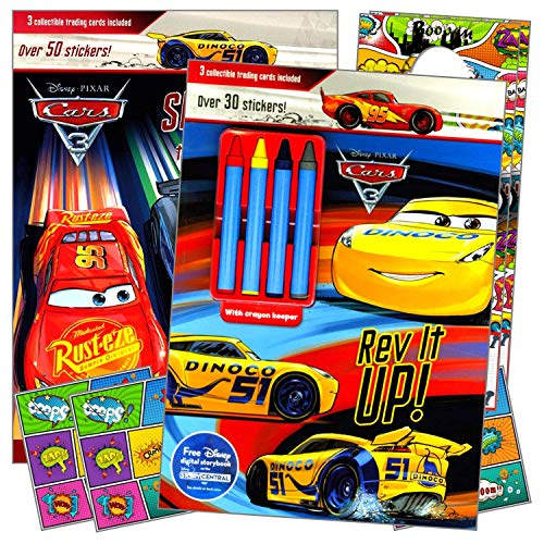 Disney Cars Lightening McQueen Coloring Books with Stickers and Crayons for Kids Bundle Includes Separately Licensed Reward Stickers and Door Hangers for Children
