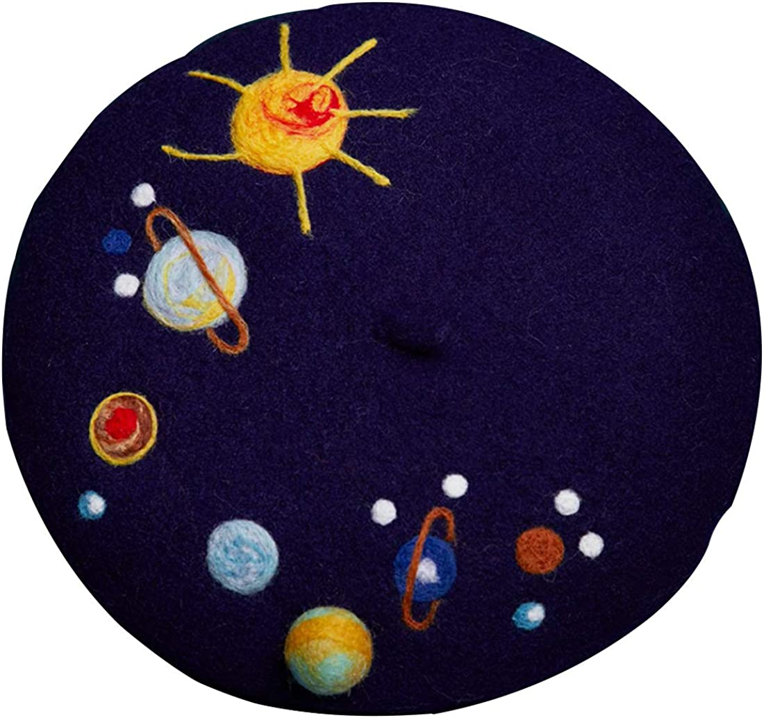 Handmade Mysterious Planet Beret Outlet SALE Vintage Artist Wome Painter Sale Special Price Hat