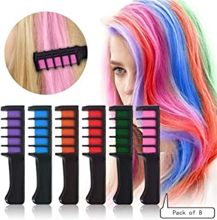 QZ HAIR CHALKS BIRTHDAY GIRLS GIFT – 8 Colorful Hair Chalk Comb Set Washable Color for Kids Hair Dyeing Party, Cosplay By TEEMI