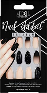 Ardell Nail Addict Premium Artificial Nail Set, Black Stud & Pink Ombre