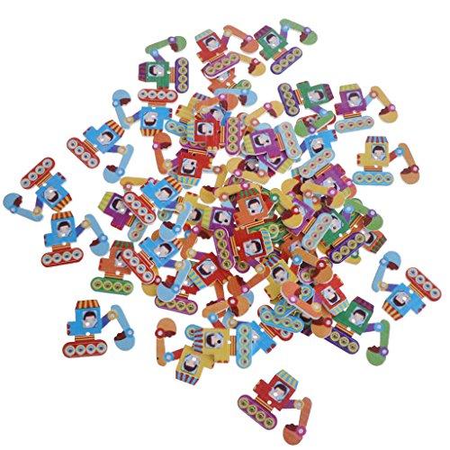 joyMerit 50 Unids/Lote Herramientas de Transporte de Dibujos Animados Bonitos Botones de Madera Botones de Costura para Niños Adorno de Ropa Fabricación de B - Excavador, Individual