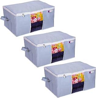 PrettyKrafts Underbed Storage Organizer with Side Handles - Grey, Set of 3