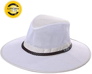 Jeff & Aimy UPF 50+ Crushable Soft Mesh Aussie Breezer Hat Summer Outdoor Safari Sun Hat Chin Strap Wide Brim