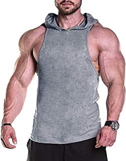 Mens Workout Hooded Tank Tops Sleeveless Gym Hoodies Bodybuilding Muscle Cut Off T Shirt