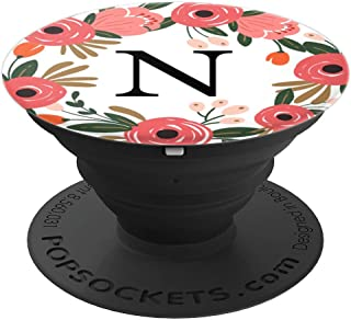 First & Last Initial Letter N Floral Wreath Monogram AAN014 - PopSockets Grip and Stand for Phones and Tablets