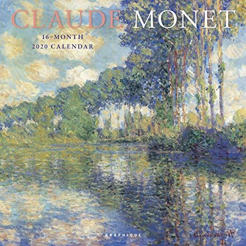 "Graphique Claude Monet Wall Calendar - 16-Month 2020 Calendar, 12""x12"" w/ 3 Languages, 4-Month Preview, & Marked Holidays"