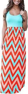 Womens Tank Top Maxi Dresses, Summer Boho Printed Empire Chevron Sleeveless Casual Beach Dresses Sumeimiya