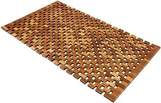 Deuba Alfombra de baño de Madera de Acacia Antideslizante Marrón Ducha SPA Sauna Estilo Mosaico Certificado FSC 80x50cm