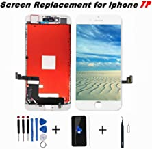Saigain Screen Replacement for iPhone 7 Plus Black 5.5 Inch LCD 3D Touch Screen Digitizer Display Replacement Including Repair Kit and Screen Protector (White)