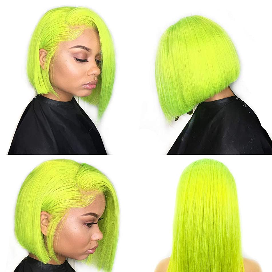 XRS Hair Wig Green Color Lace Front Bob Human Hair Wigs for Women with Baby Hair Preplucked Hairline Straight Peruvian Human Hair Short Bob Wigs 14Inch