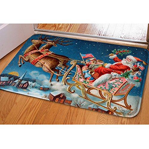 HUGSIDEA Mignon pour Chien ou Chat Flanelle Douce Avant Paillasson de Noël Home Decor Moderne Santa Claus and Reindeer