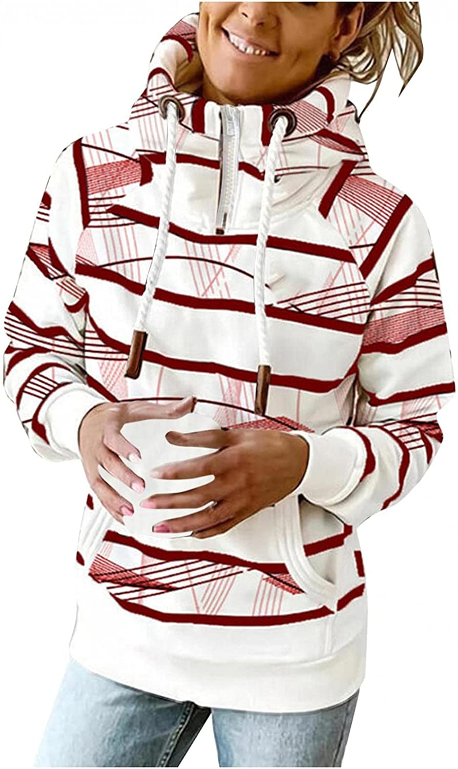 AODONG Hooded Sweatshirts for Women Casual Lightweight 1/4 Zipper Loose Long Sleeve Striped Hoodies Pullover with Pocket