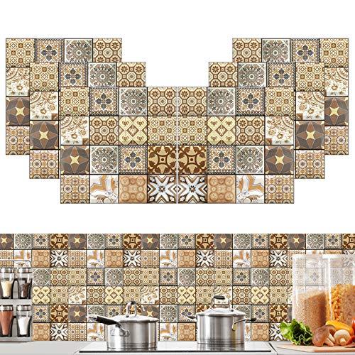 Pegatinas Azulejos Cocina, 30 * 30 cm Pegatinas de azulejos de pared marroquíes Pegatinas de azulejos autoadhesivas de PVC para baño Dormitorio Sala de estar Impermeable Resistente aceite (6 piezas)