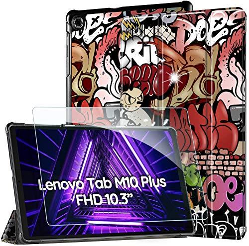 EasyAcc -Custodia Cover Compatibile con Lenovo Tab M10 FHD Plus (2nd Gen) 10.3 Ultrasottile Pellicola Protettiva Slim Smart Case Compatibile con Lenovo Tab M10 Plus TB-X606F TB-X606X,Graffito
