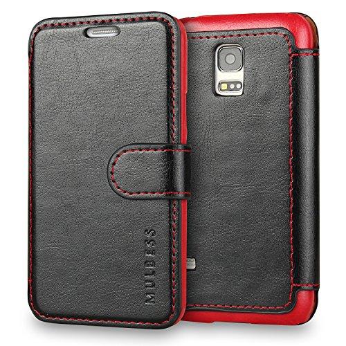 Mulbess Handyhülle für Samsung Galaxy S5 Mini Hülle Leder, Samsung Galaxy S5 Mini Handytasche, Layered Flip Schutzhülle für Samsung Galaxy S5 Mini Hülle, Schwarz