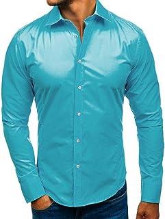 a03c4c8f0a70 Simayixx Men s Printed Dress Shirt Cotton Blouses Plus Size Regular Fit  Button Down Lapel Pullover Work