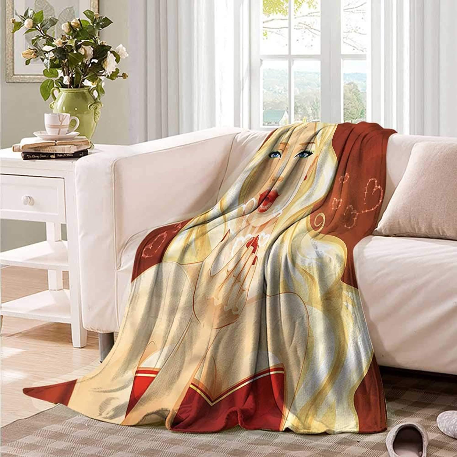 Oncegod Beds Blanket Kiss Young Blonde Woman Kisses Sofa Warm Bed 60  W x 51  L