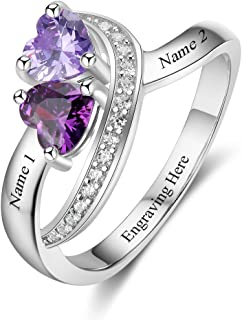 Diamondido Personalized Name Rings 2 Simulated Birthstones Promise Rings for Women Couple Engagement Rings Band
