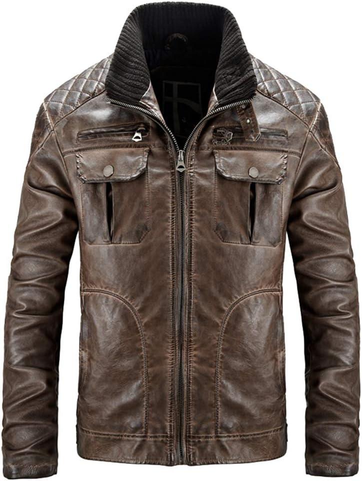 Hzikk Leather Jacket Mens Padded Motorcycle Men Biker outlet Memphis Mall PU