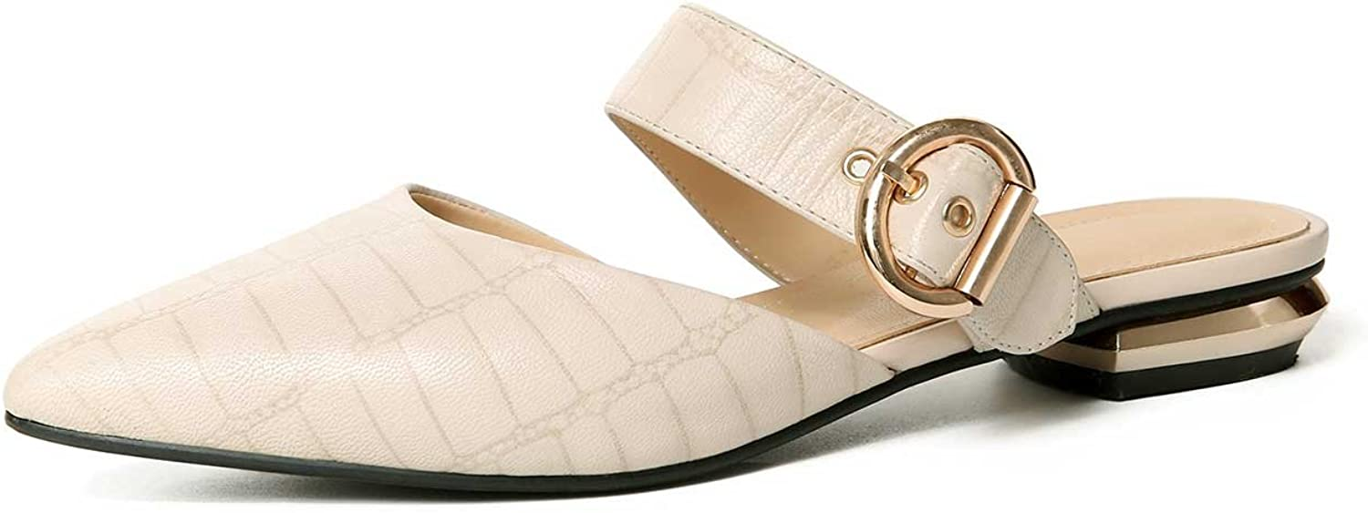 A-BUYBEA Women's 0.78  Low Block Heel Mary-Janes Leather Slides shoes Size 4-8.5 Black Beige