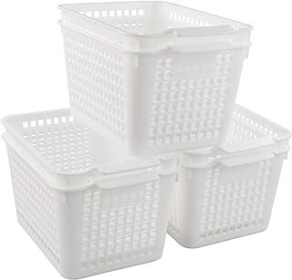 Kiddream Set of 6 White Kitchen Storage Basket Plastic Pantry Basket Set