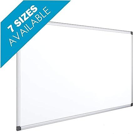 OFITURIA® Pizarra Blanca Magnética Lacada Con Marco De Aluminio Resistente Fácil De Borrar En Seco, Medida 45x30 cm
