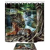 DcfxPcltcgi Safari Duschvorhänge & Matten Set, Seberian Tiger liegt unter einem großen Baum vor dem Wasserfall Hintergr& Asian Natural, Badezimmer Gardinen Indoor Floor Flanell Matte Bad Teppiche