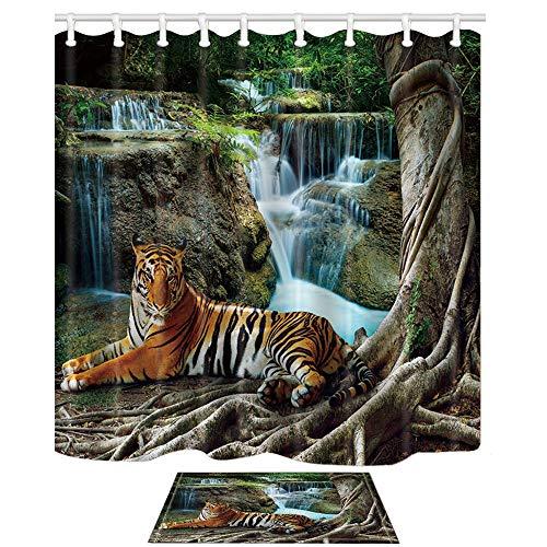 DcfxPcltcgi Safari Duschvorhänge und Matten Set, Seberian Tiger liegt unter einem großen Baum vor dem Wasserfall Hintergrund Asian Natural, Badezimmer Vorhänge Indoor Floor Flanell Matte Bad Teppiche
