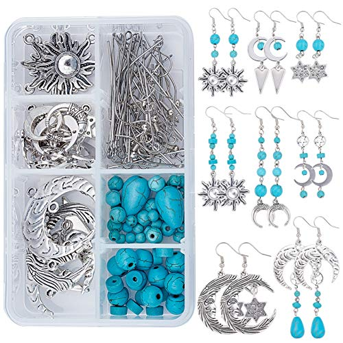 SUNNYCLUE 1 Box DIY 8 Pairs Star Moon Sun Earrings Dangle Making Starter Kit with Turquoise Beads Jewellery Making Accessories Supplies Adults Beginners