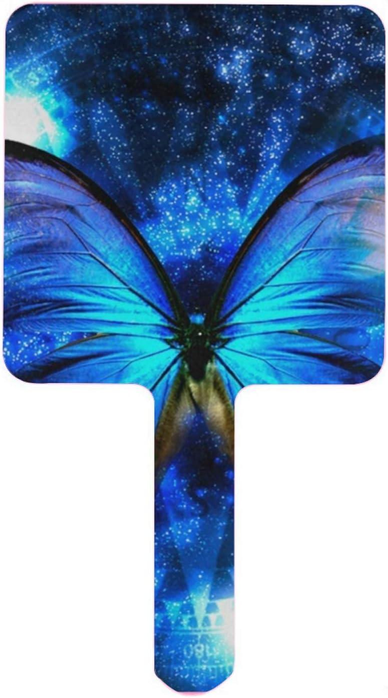 Hand Mirror Stylish Popular standard Max 88% OFF Magic Space Blue Handheld Mir Butterfly Navy