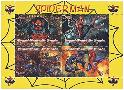 Francobolli Spiderman Eroe Marvel in un foglio di 4 francobolli, mint never hinged da Benin, 2014