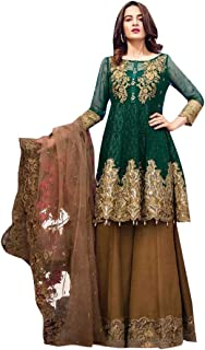 Green Stylish Pakistani Net Sharara Suit Muslim Wedding Salwar Kameez Lawn Dress Indian Winter 7293