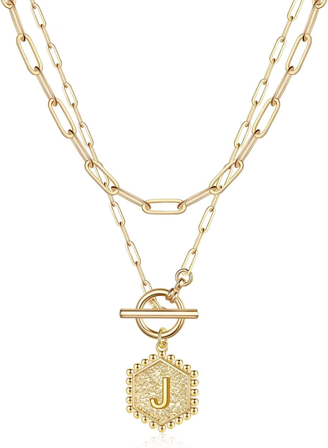 Layered Gold Initial Necklaces for Women, 14K Gold Plated Paperclip Link Chain Necklace Hexagon Letter Pendant Toggle Clasp Layering Necklaces for Women Gold Layered Initial Choker Necklaces for Women