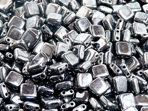 40pcs Tchèque Perles de verre Tuile à deux trous, Plat Carré 6x6x2.9mm Jet Hematite