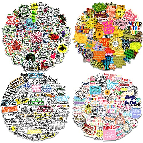 200pcs Inspirational Stickers for Laptop, Motivational Quotes Decals for Women Positive Word Stickers for Water Bottles, Waterproof Vinyl Inspirational Stickers Pack for Adults Teens Skateboard